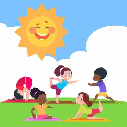Kinder beim Yoga in der Sonne